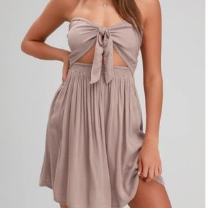 O'Neill lawrence tie knot smocked strapless dress